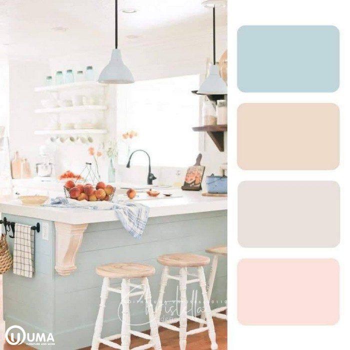 Màu trắng sữa, kết hợp màu xanh mờ, bộ tone màu tương đồng.