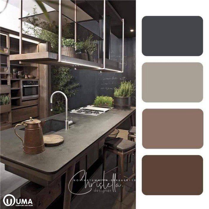 Màu nâu trầm kết hợp màu nâu đất đã tạo ra không gian nội thất huyền bí.