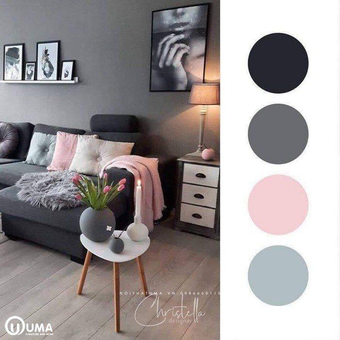 Căn phòng được lựa chọn với màu nâu xám có thêm màu hồng làm điểm nhấn cho không gian.