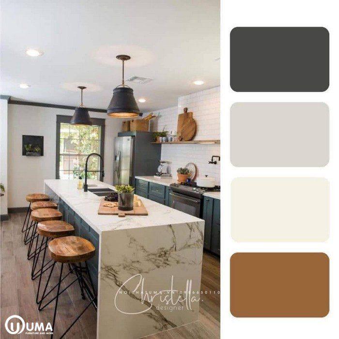 Tone màu xám kết hợp màu trắng sữa mang lại sự ấn tượng cho không gian căn phòng.