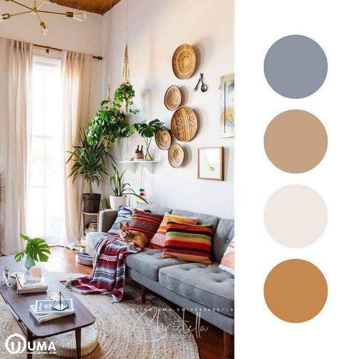 Màu sữa làm màu chủ đạo của căn phòng, với các điểm nhấn của vận dụng nội thất đánh bật tone cho căn phòng.