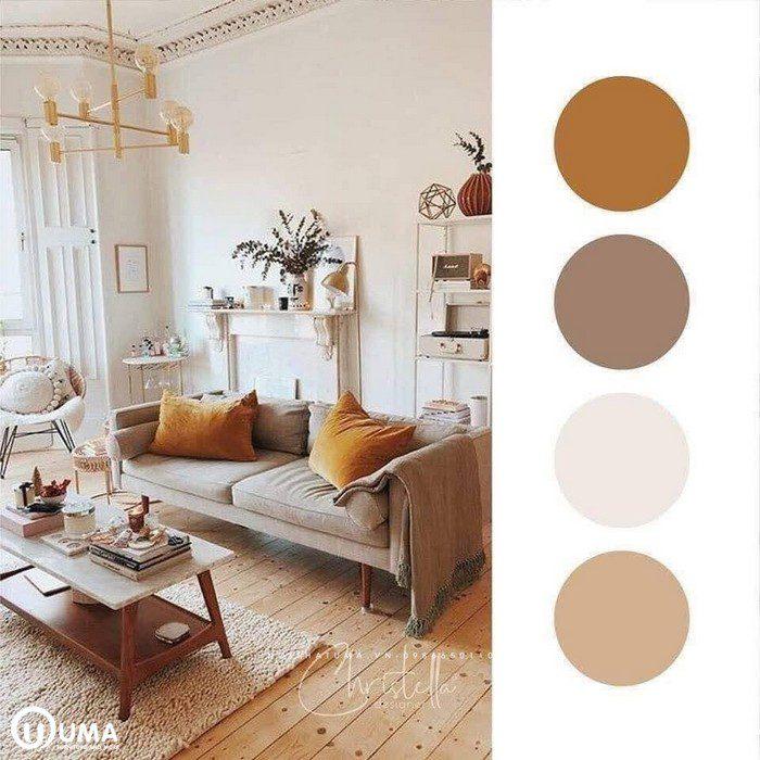 Màu nâu sữa kết hợp màu cam, mang lại phong cách hiện đại.