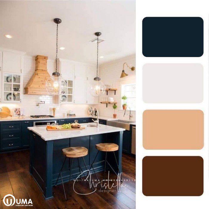 Màu xanh lam kết hợp với màu trắng be tạo ra sự tương phản cho không gian phòng bếp.