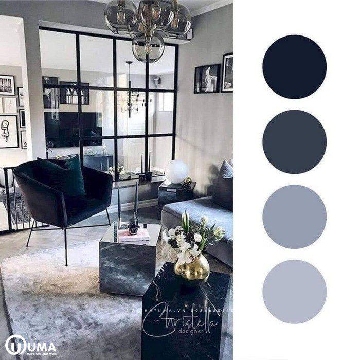 Màu xanh tím than kết hợp với màu trầm, tạo ra phong cách cổ kính, huyền ảo.