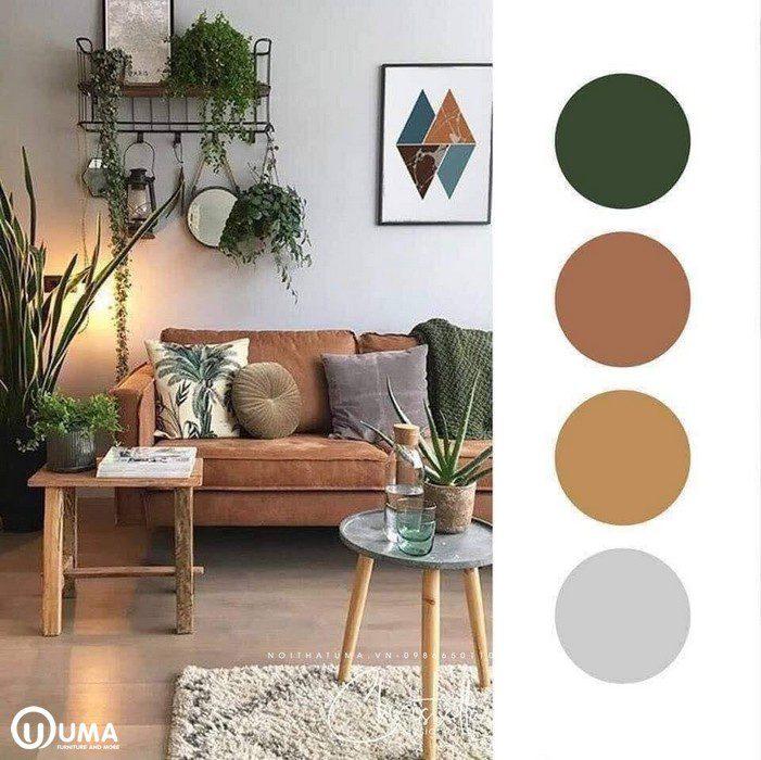 Màu nâu kết hợp với xanh lá cây là điểm nhấn chủ đạo của căn phòng