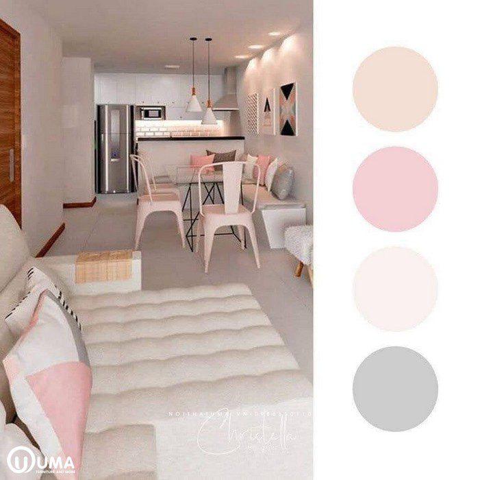 Tông màu hòa quyện của màu trắng sữa cùng màu hồng, tạo ra một không gian tường đồng về màu sắc.