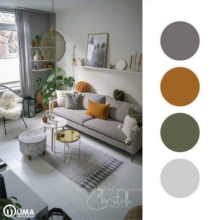 Phối màu nội thất: Màu nâu xám là màu chủ đạo, với điểm nấu của màu cam cùng cây xanh tự nhiên, tạo ra một không gian sống đặc biệt. Trong đó với bộ sofa màu nâu xám được kết hợp với chiếc gối màu vàng đã mang lại điểm nhấn ấn tượng sâu sắc cho không gian phòng khách nơi đây. Đặc biệt với chiếc bàn tròn nhỏ xinh xắn được đặt giữa phòng trên một chiếc thảm nhỏ chữ nhật khá ấn tượng và khác biệt.