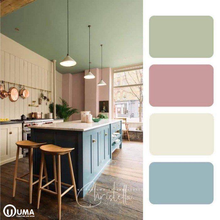 Sử dụng tone màu hiện đại, những màu sắc nhẹ nhàng, nữ tính trong căn phòng.