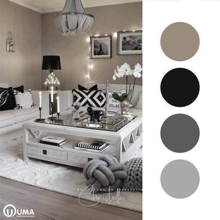 Màu nâu xám đã bao phủ toàn bộ không gian nội thất, mang lại sự ảo ảnh, đen trắng.