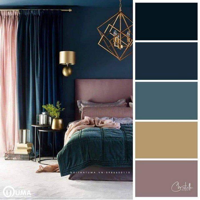 Màu xanh than hòa quyện với màu hồng mang lại sự khác biệt cho không phòng ngủ.