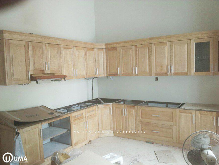 Tủ bếp thùng inox 304 cánh gỗ