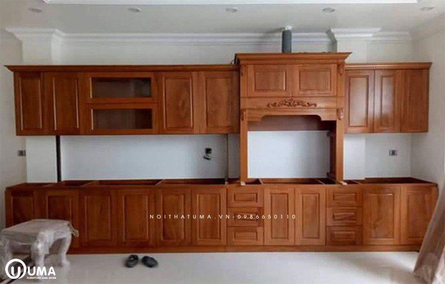 Tủ bếp gỗ gõ đỏ tại Hoàn Kiếm