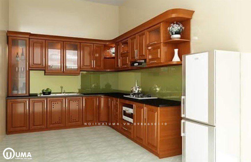 Mẫu tủ bếp gỗ tự nhiên gỗ gõ đỏ tại Đống ĐaMẫu tủ bếp gỗ tự nhiên gỗ gõ đỏ tại Đống Đa