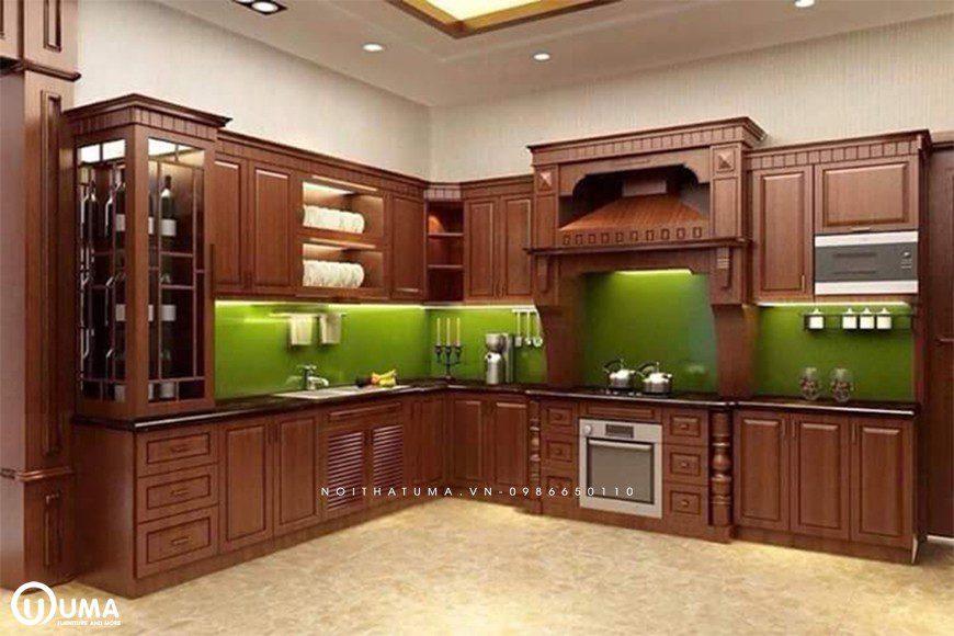 Tủ bếp gỗ sồi Nga tại Hoàn Kiếm