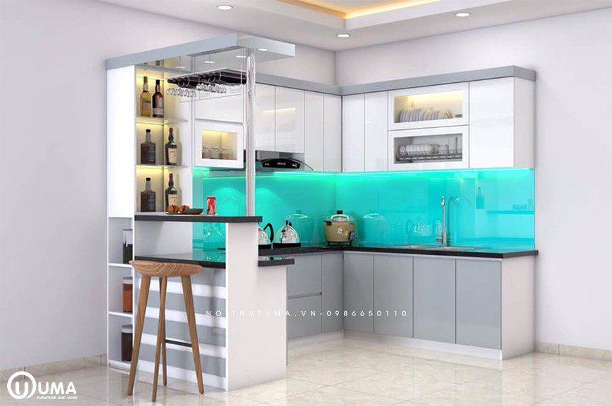 Mẫu tủ bếp thùng Inox chữ U tại Long Biên