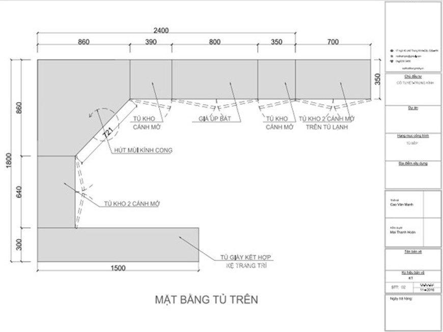 Mẫu 3: Bản thiết kế tủ bếp chữ L