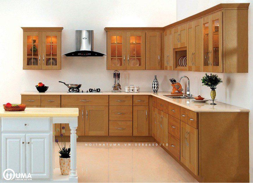 Tủ bếp chữ L cho không gian diện tích nhà nhỏ