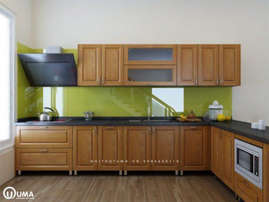 Tủ bếp đẹp chữ L đơn giản cho nhà ống