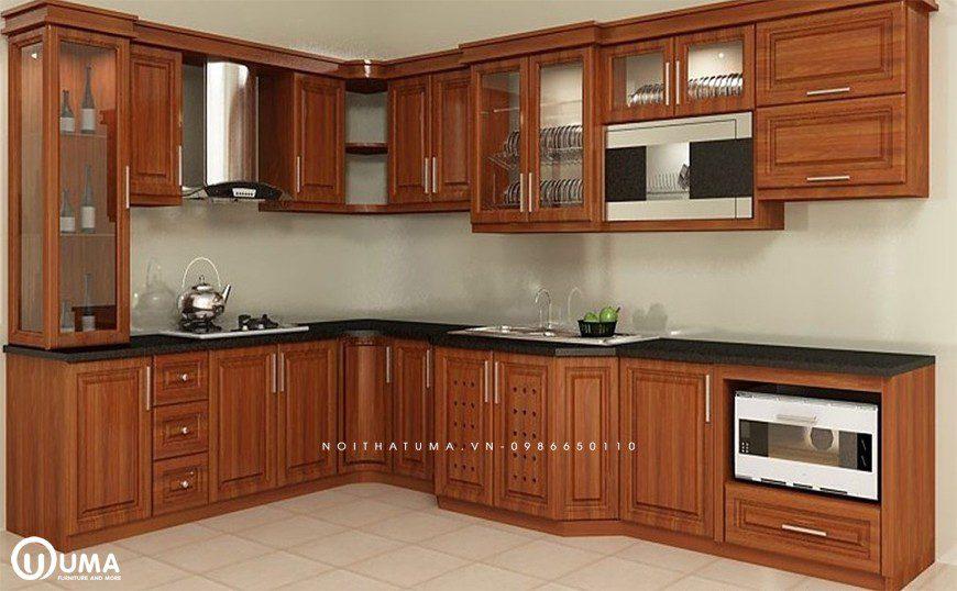 Mẫu 1 – Tủ bếp chữ L gỗ tự nhiên Gõ đỏ