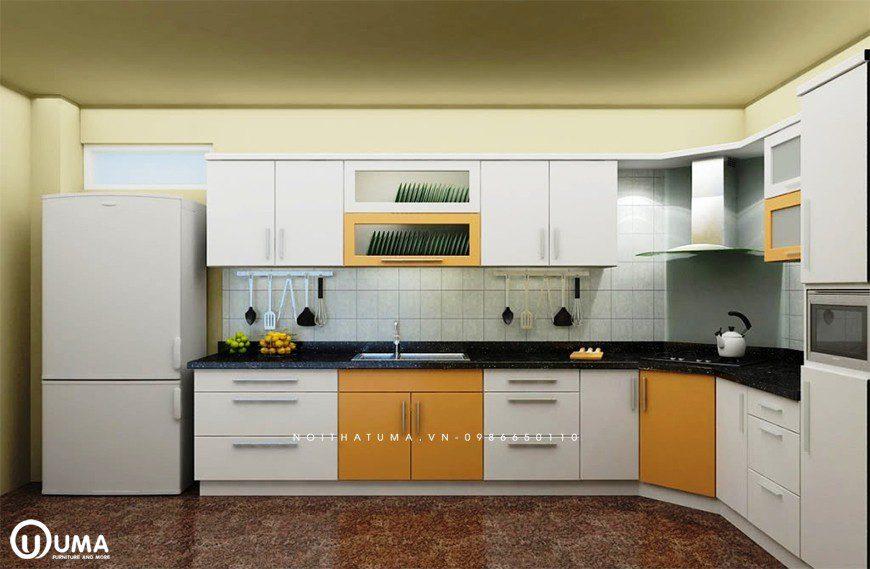 Mẫu 5 – Thiết kế nội thất tủ bếp chữ L