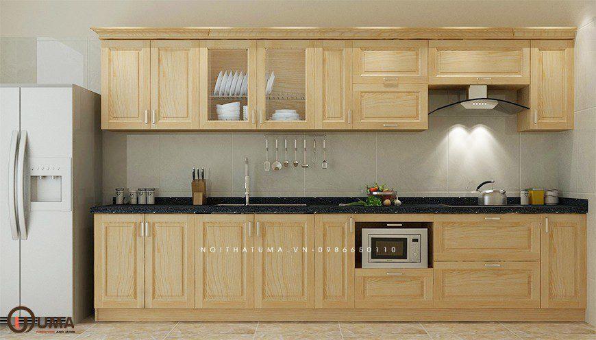 Mẫu 6 - Tủ bếp chữ I gỗ sồi Nga