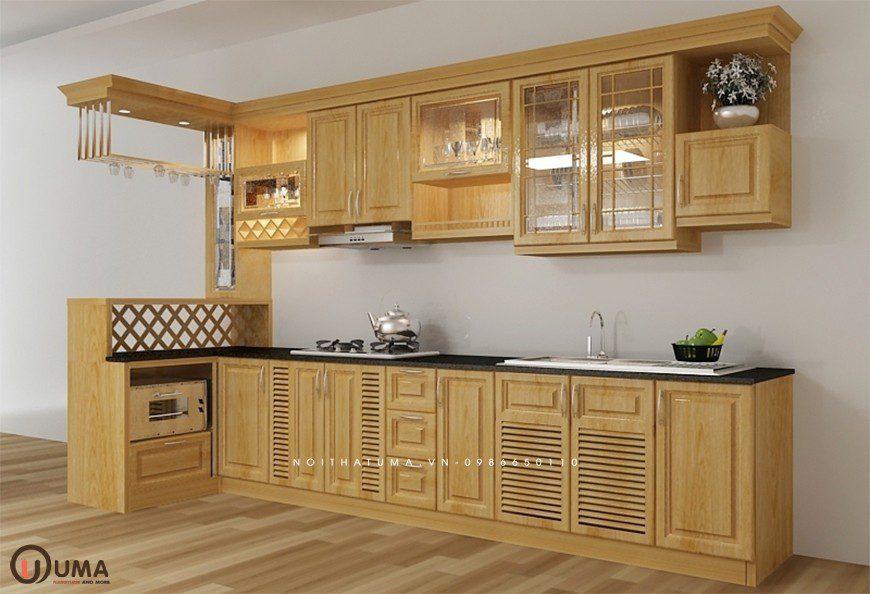 Mẫu 3 - Tủ bếp gỗ xoan đào chữ I