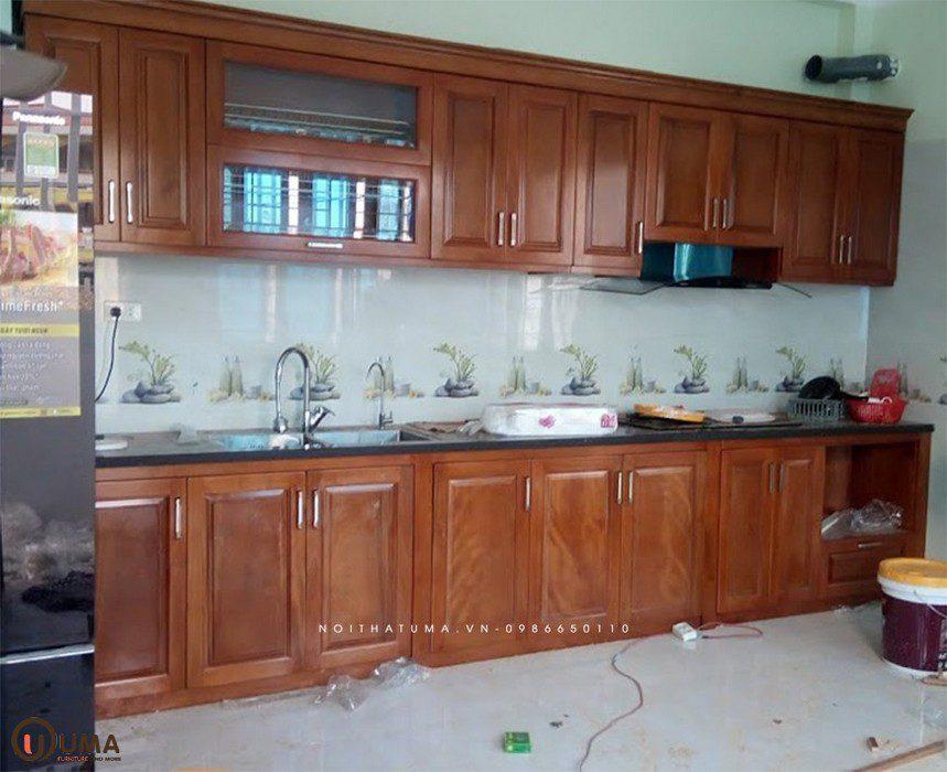 Mẫu 4 - Tủ bếp gỗ xoan đào chữ I