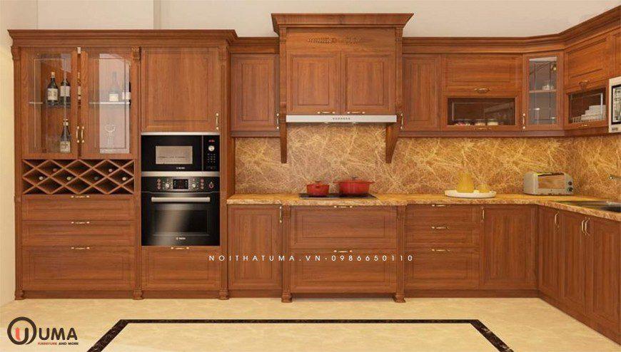 Mẫu 4 - Tủ bếp chữ I gỗ Gõ Đỏ