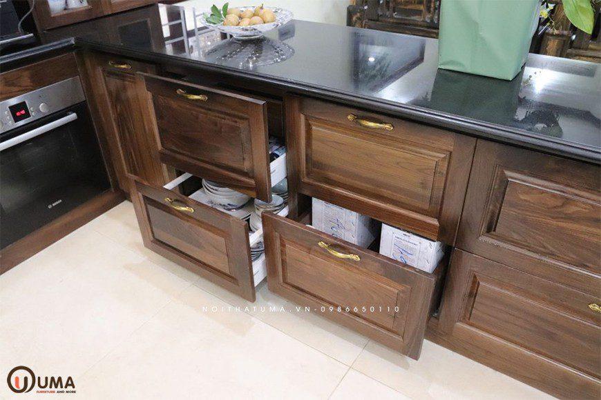 Mẫu 4 - Tủ bếp chữ I gỗ Óc Chó