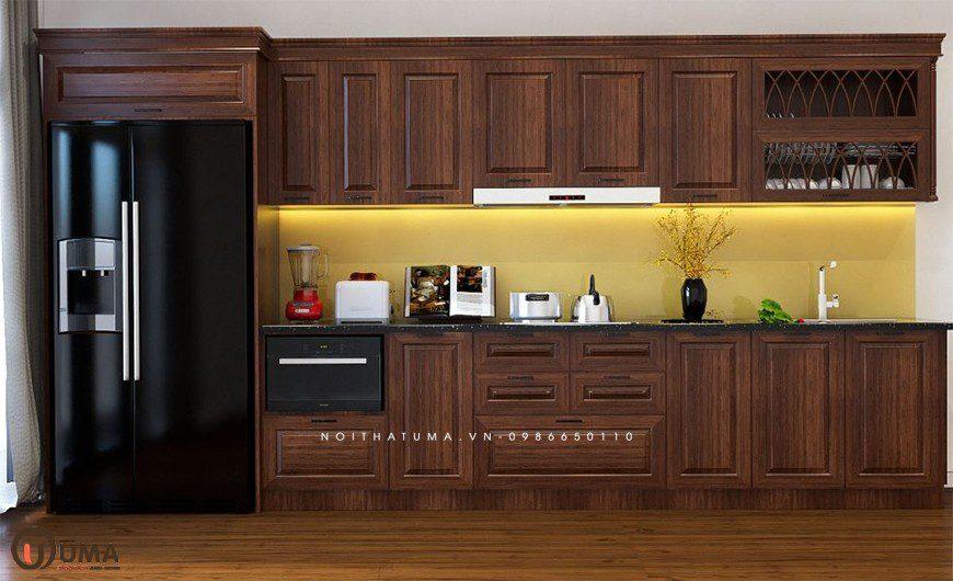 Mẫu tủ bếp chữ I làm bằng gỗ tự nhiên cao cấp
