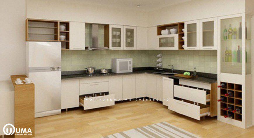 Tủ bếp chữ L phù hợp với mọi không gian thiết kế