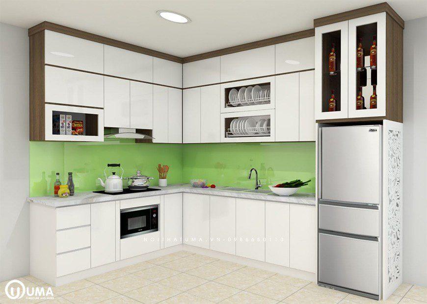 Tủ bếp chữ L tận dụng mọi không gian căn hộ