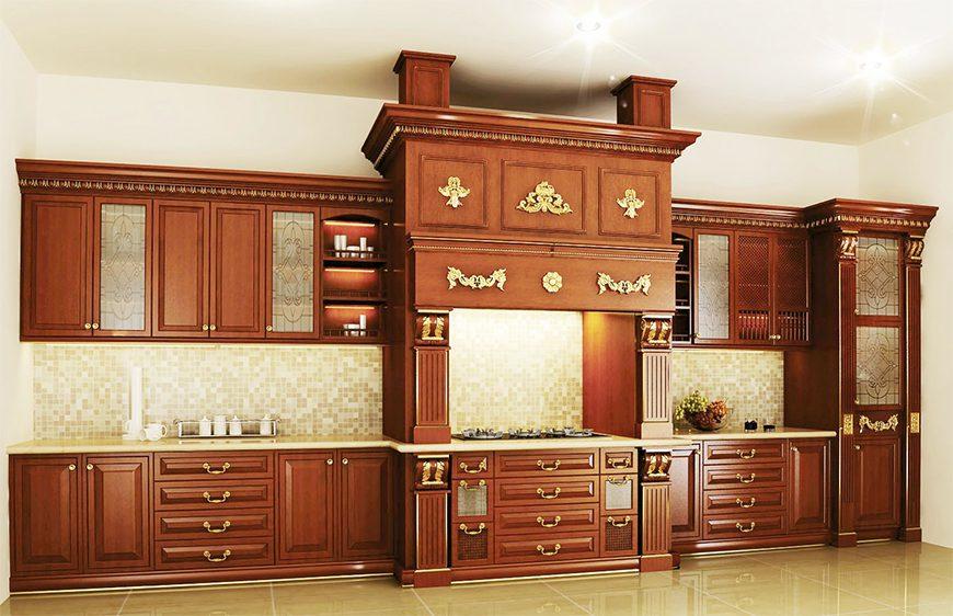 Mẫu 1 - Tủ bếp gỗ Căm Xe chữ I