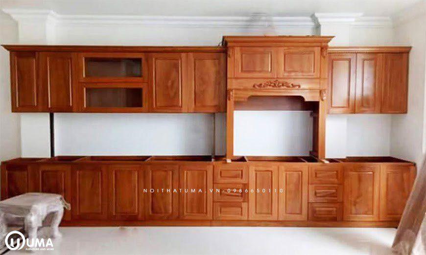 Mẫu 1 - Tủ bếp chữ I gỗ Gõ Đỏ