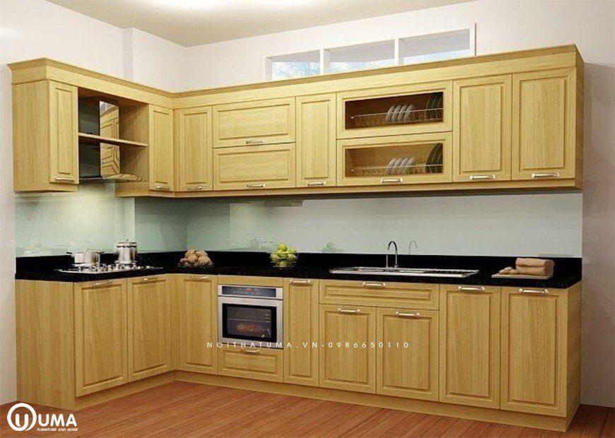 Mẫu 1 - Tủ bếp gỗ Sồi Nga chữ L