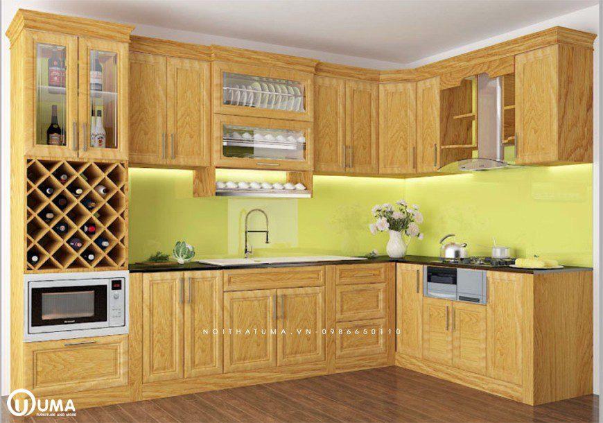 Mẫu 3 - Tủ bếp gỗ Sồi Nga chữ L