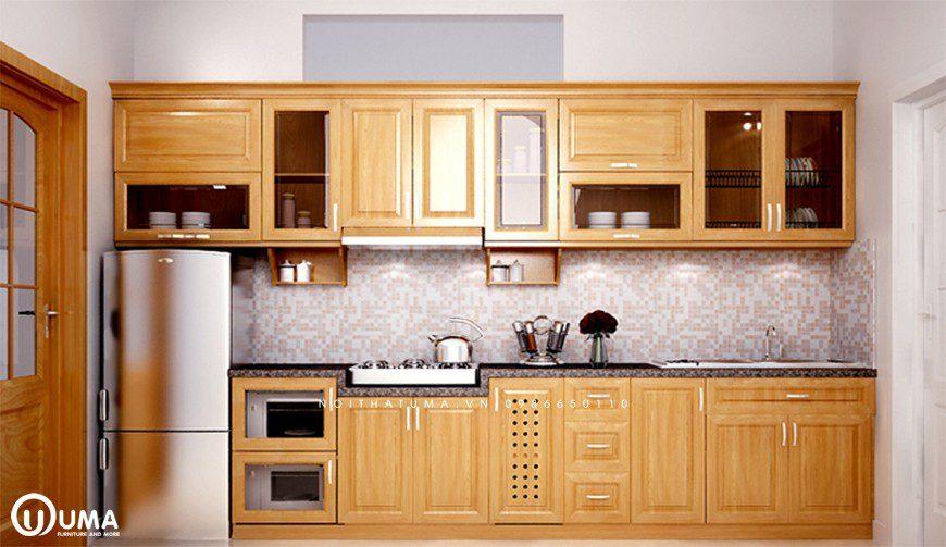 Mẫu 1 - Tủ bếp gỗ Sồi Nga Hoàng Anh