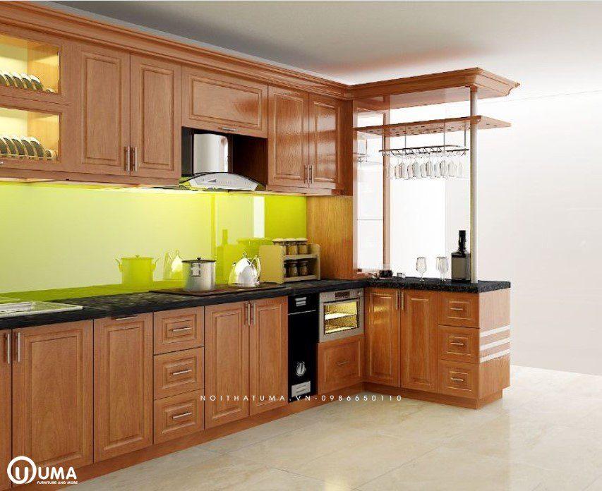 Tủ bếp chữ L gỗ tự nhiên xoan đào