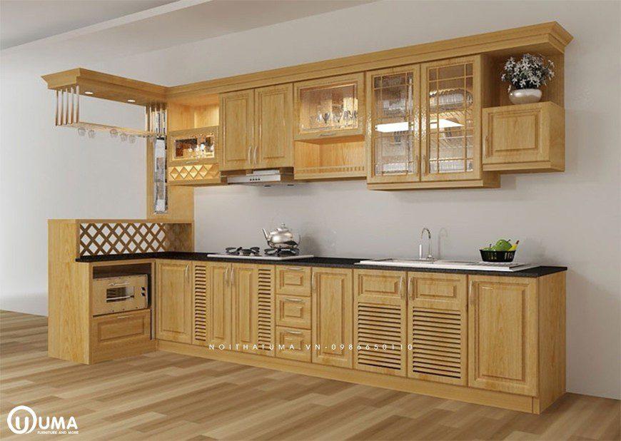 Mẫu 2 - Tủ bếp chữ L gỗ Xoan Đào