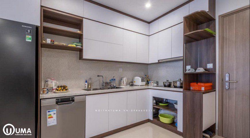 Mẫu Tủ Bếp ACRYLIC đươc thiết kế cho căn hộ Vinhome Ocean Park