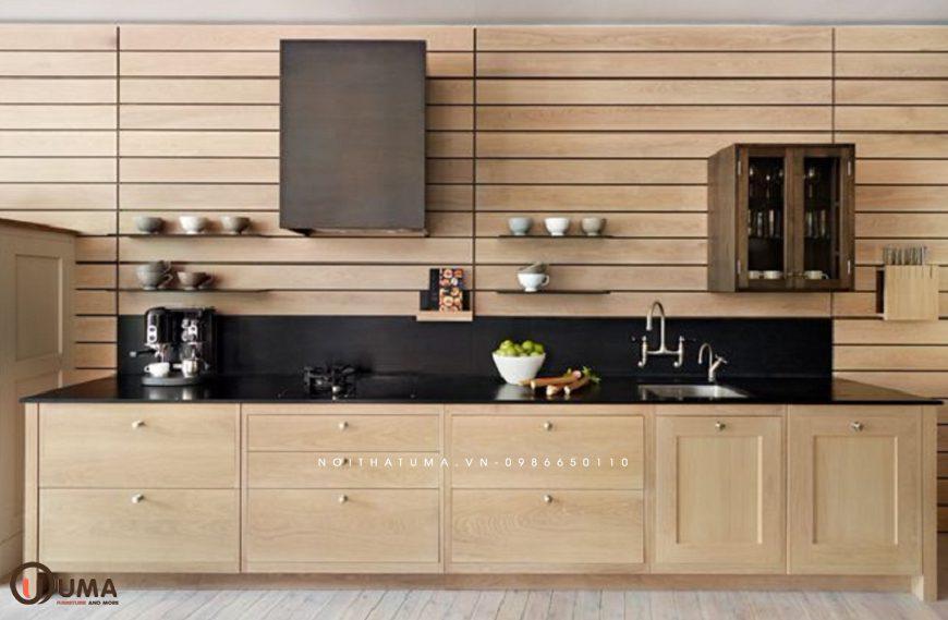 Mẫu 1 – Tủ bếp gỗ công nghiệp ghép thanh