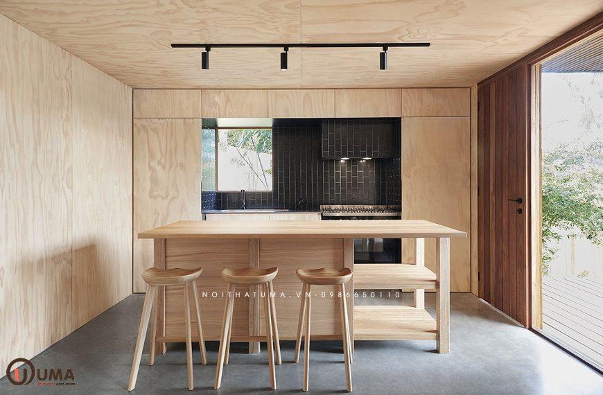 Mẫu 1 - tủ bếp làm bằng gỗ Plywood