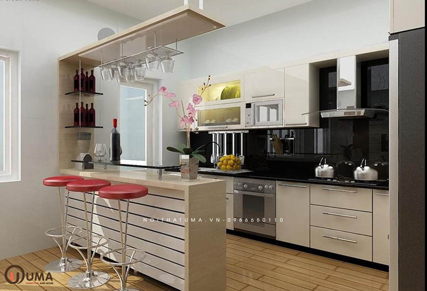 Mẫu 3 - Tủ bếp Melamine chữ U
