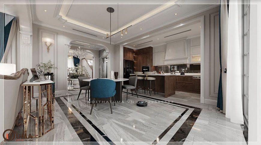 Không gian nội thất phòng bếp phong cách tân cổ điển