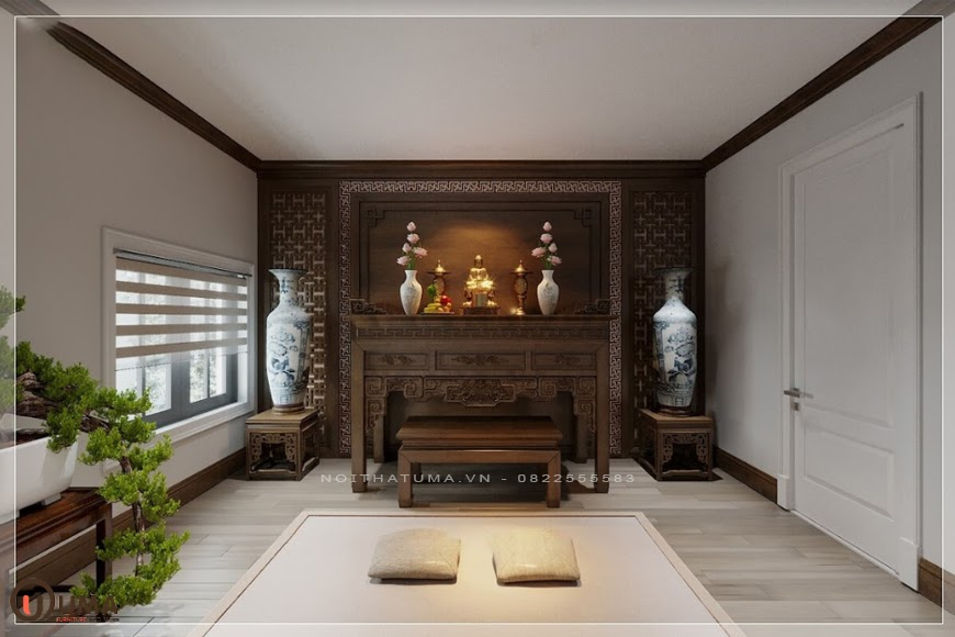 Mẫu nội thất phòng thờ cho căn hộ chung cư tân cổ điển