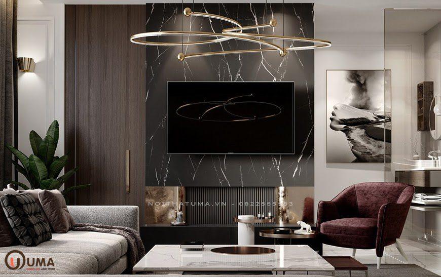 Mẫu phòng khách cho căn hộ chung cư phong cách Luxury