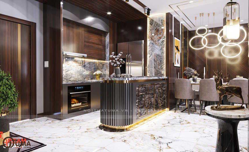 Mẫu nội thất phòng bếp cho căn hộ chung cư mang phong cách Luxury