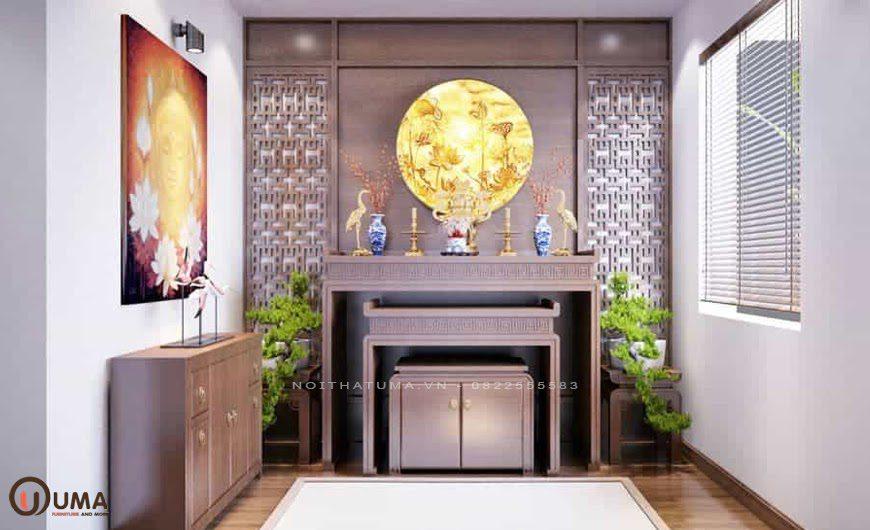 Mẫu phòng thờ chung cư mang phong cách Luxury