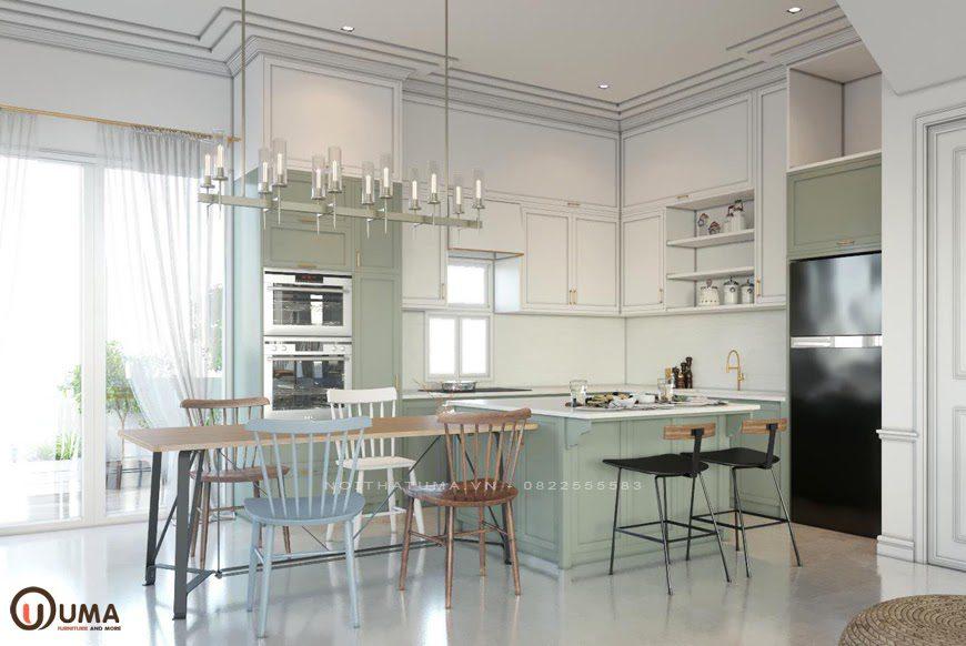 Mẫu nội thất phòng bếp mang phong cách Scandinavian cho căn hộ chung cư