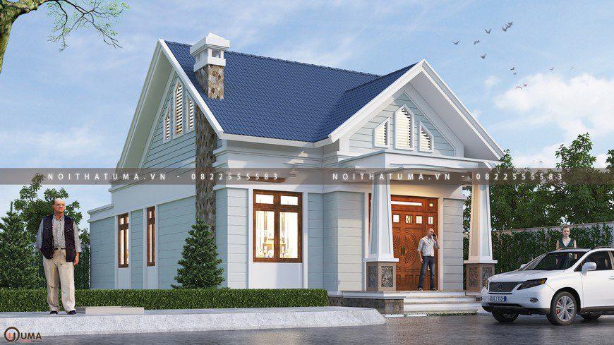 Hình ảnh tổng thể căn nhà cấp 4 mái thái tại Hòa Bình
